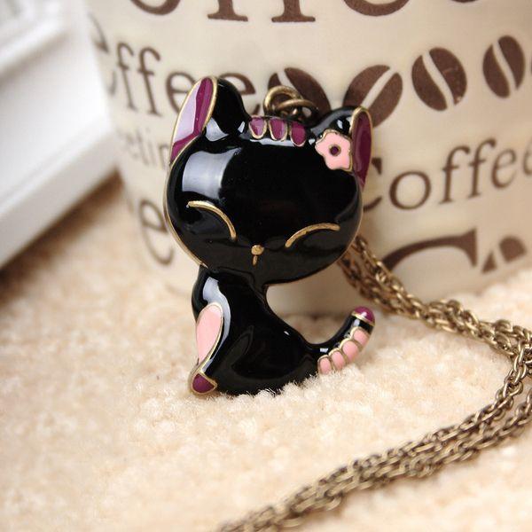 Lovely Animal Black Cat Long Pendant Necklace Smile dropoil cat woman sweater Necklace ne821