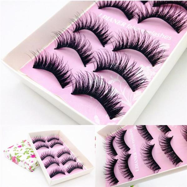5 Pairs Natural Handmade Mink Eyelashes Beauty Long False Black Eyelashes Makeup maquiagem Thick Fake Eye Lashes Extension