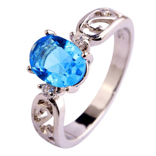 Fashion Jewelry Hand Made Blue Topaz Gems 18K White Gold Plated Silver Ring Size 6 7 8 9 10 11 12 Free Shipping Wholesale