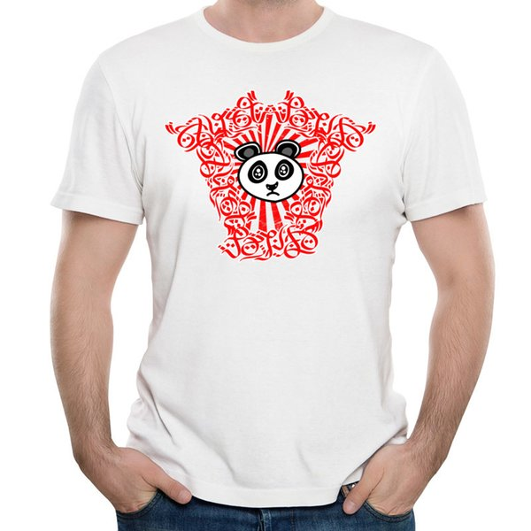 Animal Printed On Mens T-shirt Red White Tees Short-Sleeve O Neck For Man Good Quality Clothes Chinese Treasure Panda