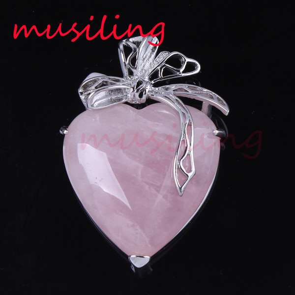Natural Gem Stone Heart Pendants Necklace Chain Silver Plated Ribbon Metal Accessories European Fashion Jewelry For Women