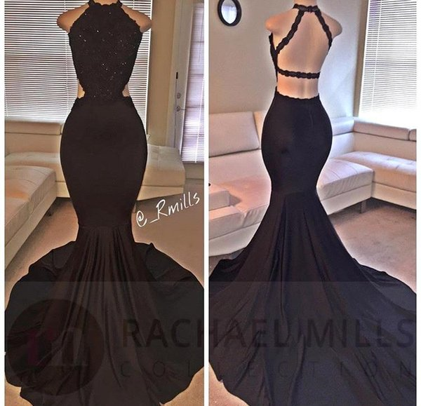 2018 Sexy Black Halter Satin Mermaid Long Prom Dresses Lace Sequins Beaded Backless Side Slit Evening Dresses Formal Party Dresses