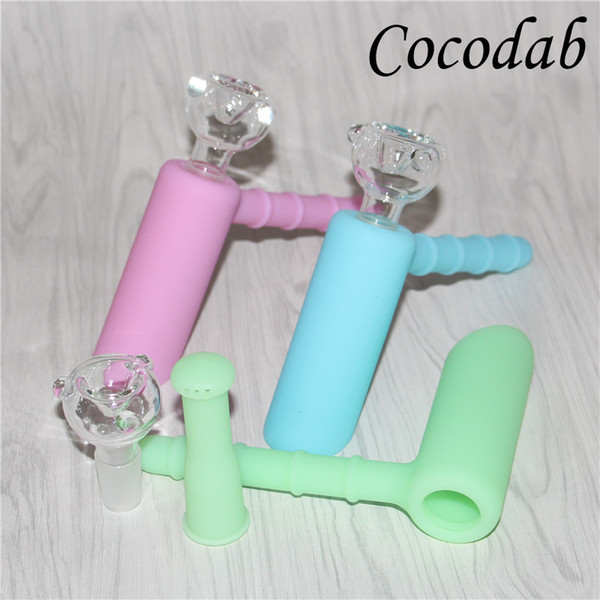 Mini Glow in dark Silicone Hammer Bongs 6 holes Glass Percolator Portable bongs pipes bubbler with 18.8mm Glass Bowl Free Shipping DHL