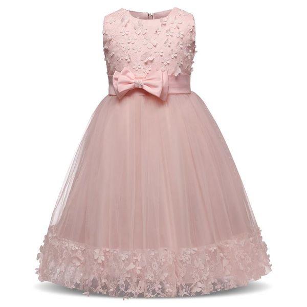 New Arrival Kids Girl Flower Petals Dress Teen Children Girl Bridesmaid Toddler Elegant Dress Vestido Infantil Formal Party Dress