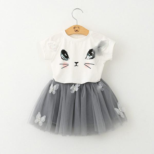 2016 nuova estate carino Cat Paillettes T-shirt a maniche corte + TUTU gonna set Bambini Set bambini Suit Abiti Tutu gonna Tulle Bambino bei vestiti