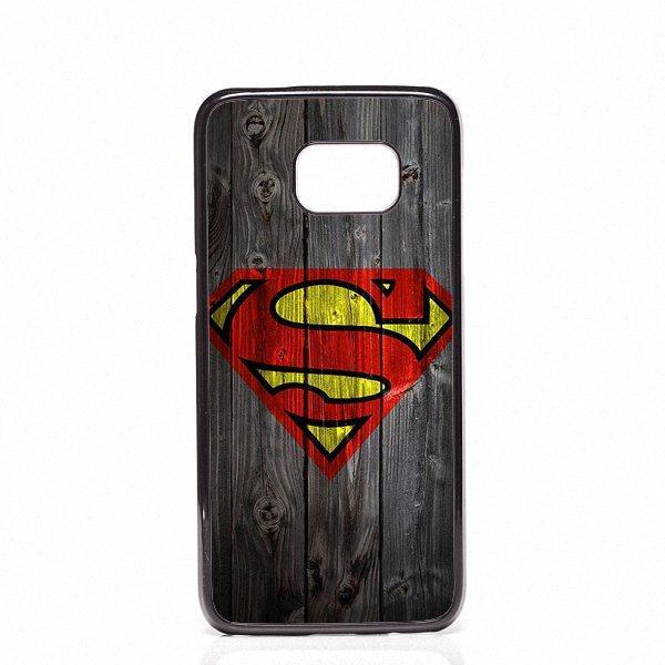 Coque Superman Logo Téléphone En Bois Couvre Coquille Étuis En Plastique Dur Pour Samsung Galaxy S4 S5 S6 S7 S7 bord S8 S8 Plus