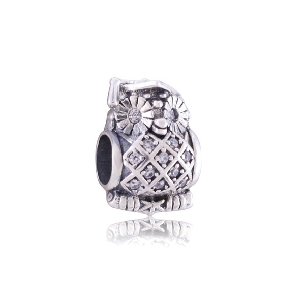New Hot sale 925 sterling silver owl charms with crystal for jewelry making fit Pandora style jewelry bracelets free shipping