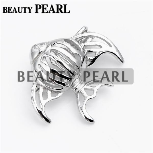Bulk of 3 Pieces Fish Cage Lockets Wish Pearl Gift 925 Sterling Silver Jewellery Goldfish Cage Pendant