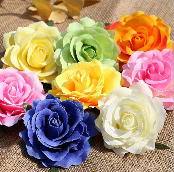 top popular rose heads artificial flowers plastic fake flowers head high quality silk flowers wedding decoration wall free shipping WF008 2021