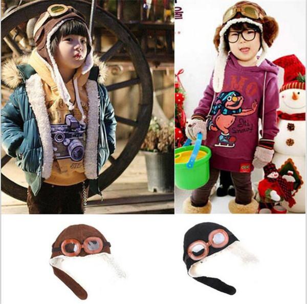 110pc new cute baby toddler boy girl kid pilot aviator cap warm hat earflap beanie melee r051