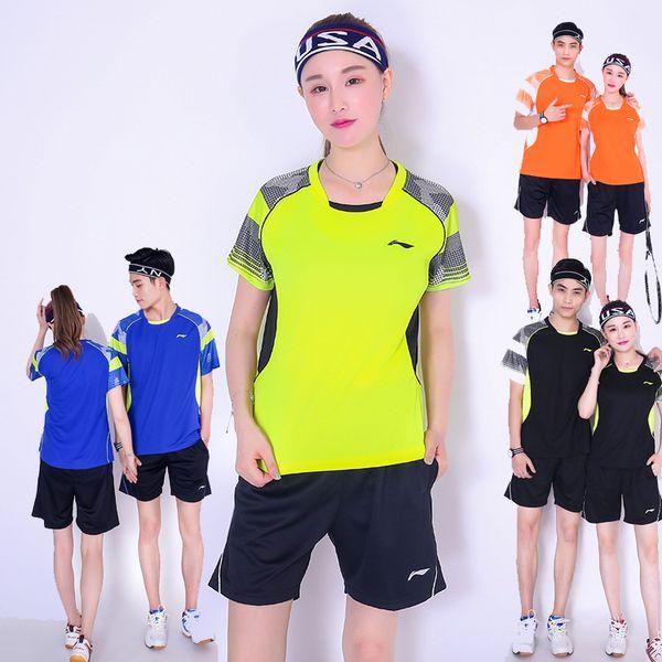 New Li-Ning badminton wear suit shirt+shorts,men/women tennis shirt sportswear jerseys,table tennis shorts,tennis t-shirt train clothes