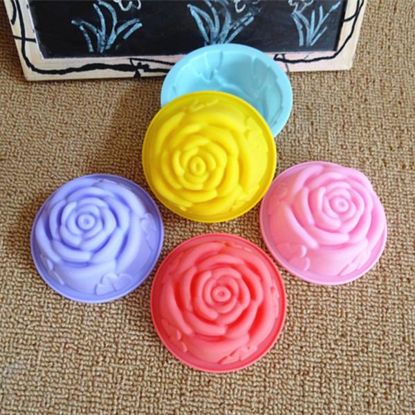 bake tool single rose cupcake mold 60ml Silicone Cake Mold Rose Shape Handmade Soap Pudding Jelly Chocolate Mould