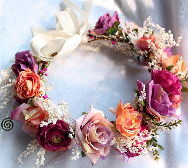 Novias corona estilo bohemia niños playa vacaciones accesorios para el cabello niñas hecho a mano estéreo rosa simulación flores guirnaldas R1019