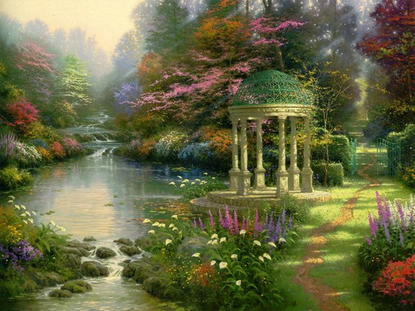 Thomas Kinkade Landscape Oil Painting Reproduction High Quality Giclee Print on Canvas Modern Home Art Decor TK061
