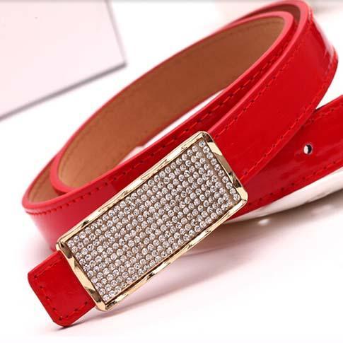 anglebabys / 2016 new desinger diamond buckle dress belt for women fluorescent color thin waist belt ladys eather belt 11 colors