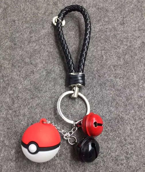 Pocket Monster Poke Ball Anime Keychain Keyring Pendant Unisex Ash Ketchum Key Ring, With The bell