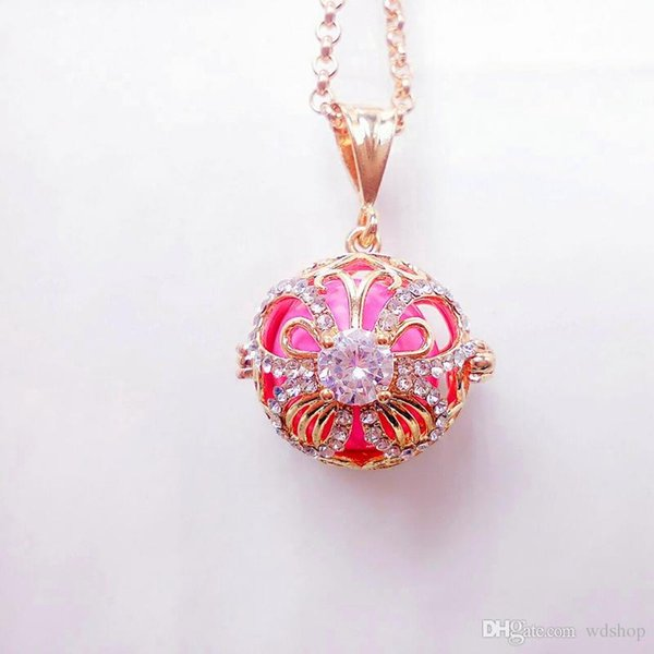 Cubic Zircon Pearl Cage Pendant Necklaces Gold Hollow Butterfly Pattern Pregnancy Ball Pendants Baby Chime Diffuser Lockets Necklace