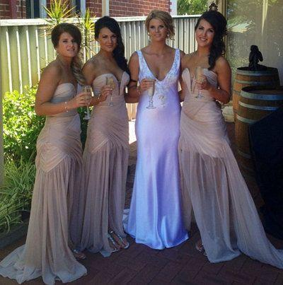Cheap nude Mermaid boho Bridesmaid Dress 2016 V Neck Pleats Side Slit Sexy Maid Of The Bride Evening Gowns Formal Occasion Wear Plus Size