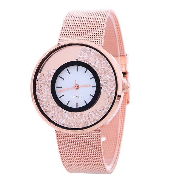 New Women Geneva Watch Korean Alloy Band Round Dial Charming Bracelet Wrap Watch Mix Colors Free Shipping Christmas Gift