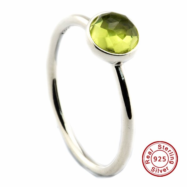August Droplet, Peridot 100% 925 Sterling Silver Bead Fit Pandora Ring Fashion Jewelry DIY Charm Brand