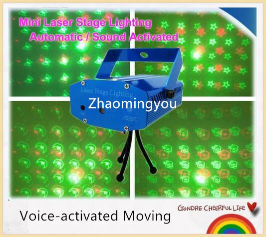 YON 4 In One Red-Green mini Voice-activated Moving Projector Disco DJ Stage Xmas Party Show Club Laser Lighting Light With Tripod