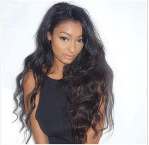 Front Lace Wigs Natural Wave 100% Unprocessed Indian Human Hair Front Lace Wigs With Baby Hair Dark Brown Color Cap