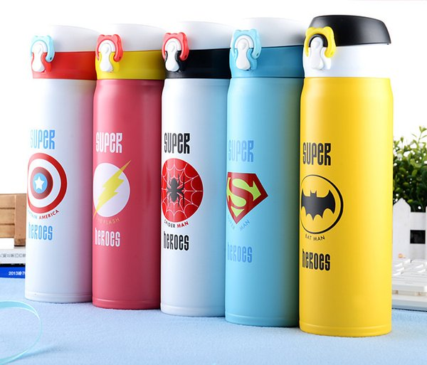 New hot Hero Union Creative Vacuum Insulation Cup Stainless Steel Bounce Portable Gifts Cute Student Cup