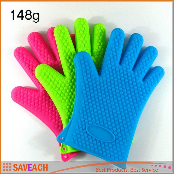 Thick ECO Friendly Heat Resistant Grilling Silicone BBQ Gloves Barbecu Kitchen  Pot Holders Protective Oven Mitts