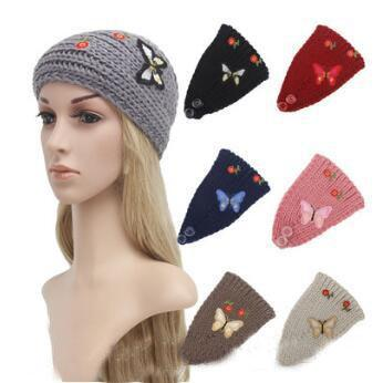 7 Colors Knitted Turban Headwrap Embroidery Butterfly Flowers Crochet Headband Hair Accessories 50pcs