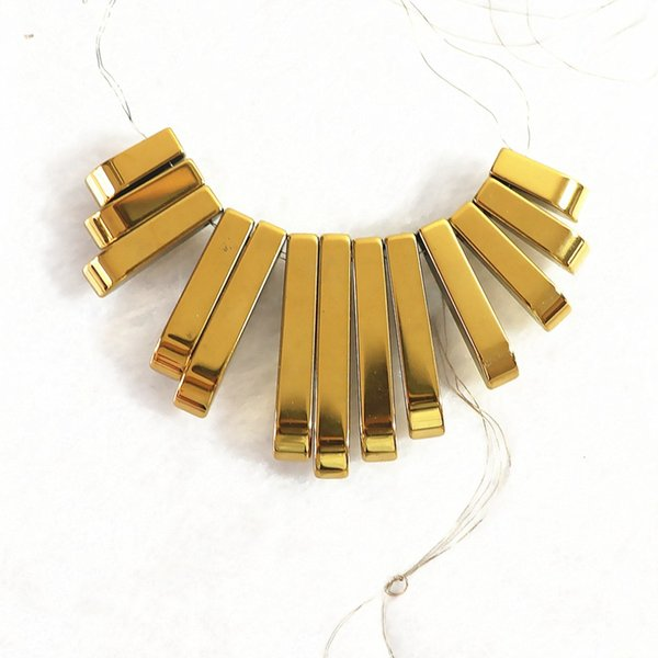 Gold hematite Pendant stone diy necklace 10-29x4mm long Rectangle beads B203