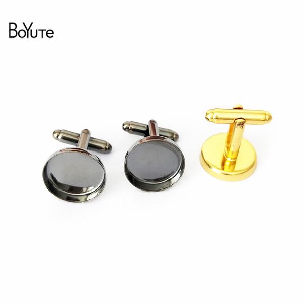30PCS Golden 12mm Round Cabochon Setting Earring Pin Studs #23145