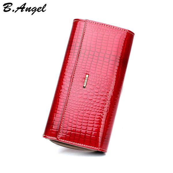 Nuovo modello portafoglio donna lungo in vera pelle di design classico modello coccodrillo borsa femminile Portafogli in pelle di vacchetta 2 colori