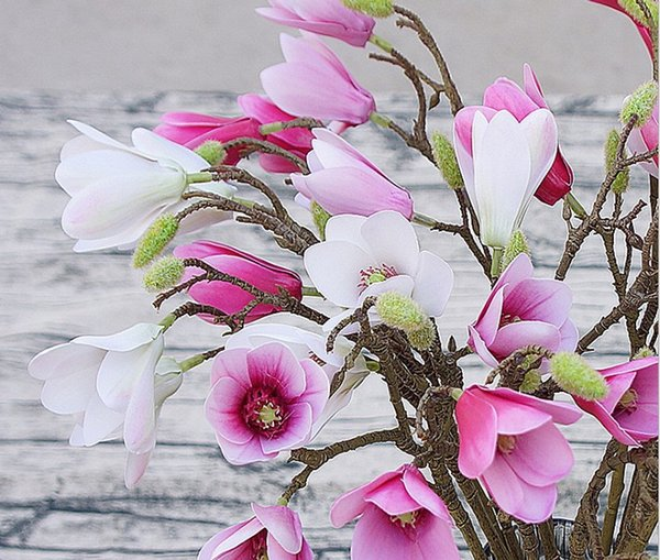 best selling High Quality Hot Sale Fabric Flower Magnolia Orchid long Stem Home and Wedding decorative Table Flower Full Bloom Silk Magnolia Plant