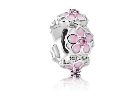 Fit Pandora Charm Bracelet European Silver Charms Spacer Beads Magnolia Bloom Flower DIY Snake Chain For Women Bangle Necklace Jewelry Xmas