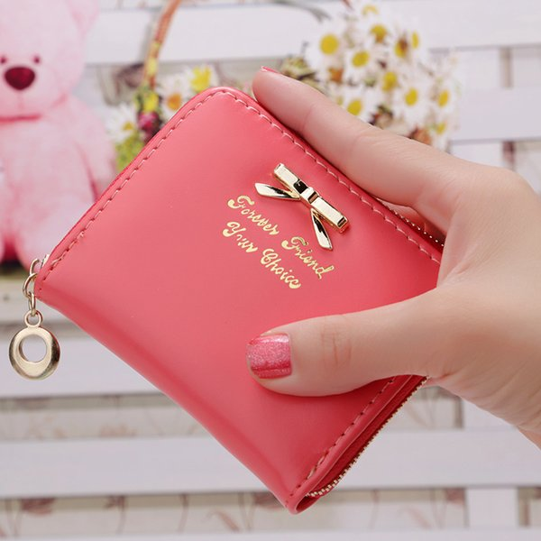 New Arrival Candy Color Bow Design Women Leather Wallet Short Slim Mini Money bag Wallet Coin Card Purses Holders Clip Female