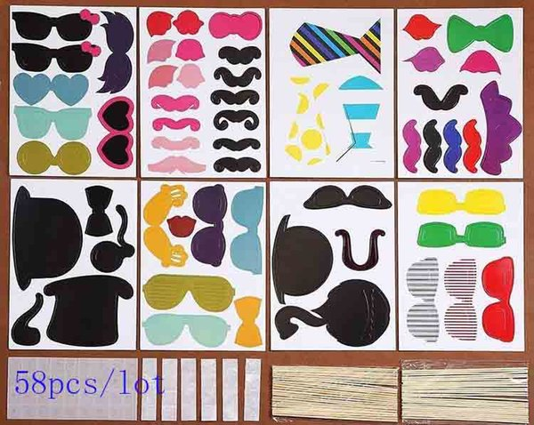 2016 new Design DIY 58Pcs/lot Funny Photo Booth Props with lips moustaches glasses Cute fashion for wedding Christmas Party Decorations