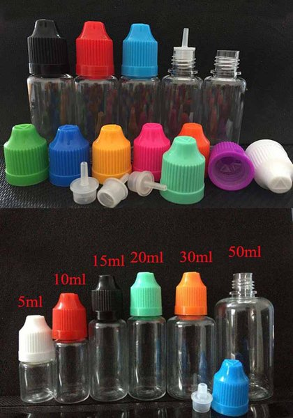 top popular 1000pcs PET Empty Plastic Dropper Bottle 3ml 5ml 10ml 15ml 20ml 30ml 50ml professional eGo e cig cigs Electronic Cigarettes 2019