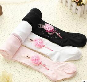 Hot Selling Wholesales and Retail Girls Ballet pantyhose Girls fashion dancing embroidered socks for 1-8 yrs Free shipping