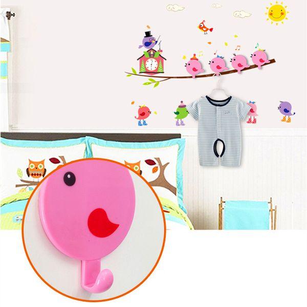 Wall Stickers Hook Cartoon Animal Strong Stick Hook Coat Wall Hooks+Sticker Clothes Hook Wall Sticker Home House Decor E5M1 order<$18no trac