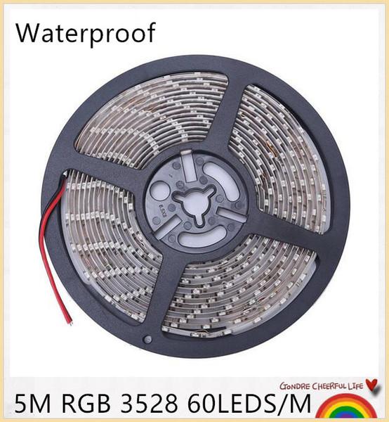 IP65 Waterproof 300leds/5M SMD 3528 RGB LED Strip Flexible Diode Tape 12V LED Ribbon 60LED/M Ledstrip for Home Decoration