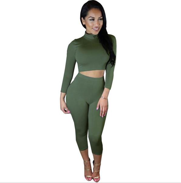 Women's Tracksuits T shirt+ pants women Sport suit Long sleeve crop tops and shorts set Color block women Bodycon Yoga 2 piece sets 12 color
