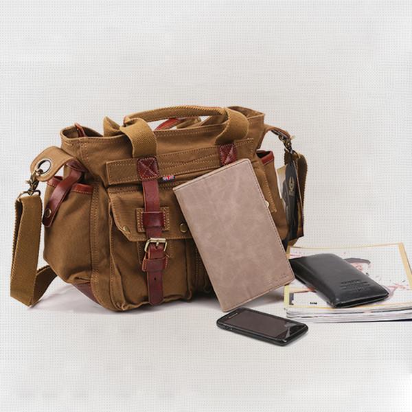 819a97dd9 AKARMY canvas bag Brad Pitt shoulder diagonal backpack retro man messenger  bag for travel Thick genuine