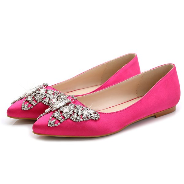 2019 best-selling spring autumn new satin flat shoes fashion rhinestone bow Pointed Wedding shoes shallow mouth women flats