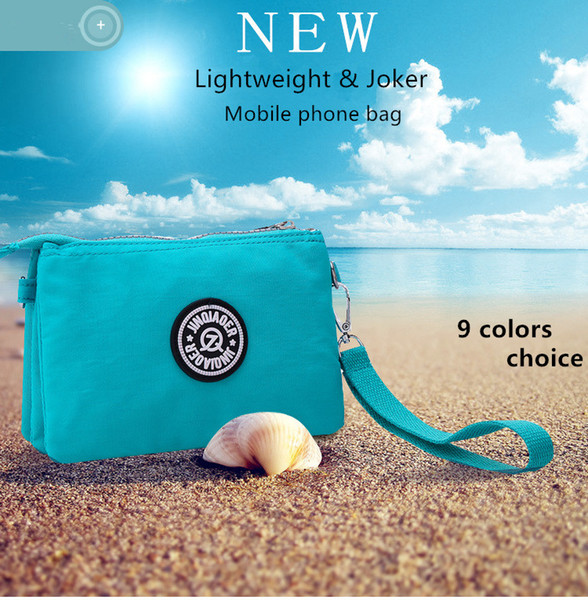 Three Layers Zipper Purse Waterproof Nylon Wristlet Bag Cell Phone Pouch with Shoulder Strap Crossbody Message Bags 9 Colors