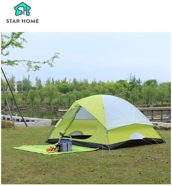 Wholesale- Star Home camping tent for 1-2 people polyester fabric tent portable anti UV 2 layers camping beach tent