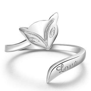 Free shipping 925 sterling silver jewelry simple 3D fox mark single ring open design new