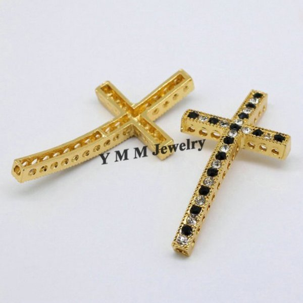 Free Shipping 25x48mm Gold Plated Cross Black And White Crystal Rhinestone Bracelet Connector Fit DIY Fashion Accessory