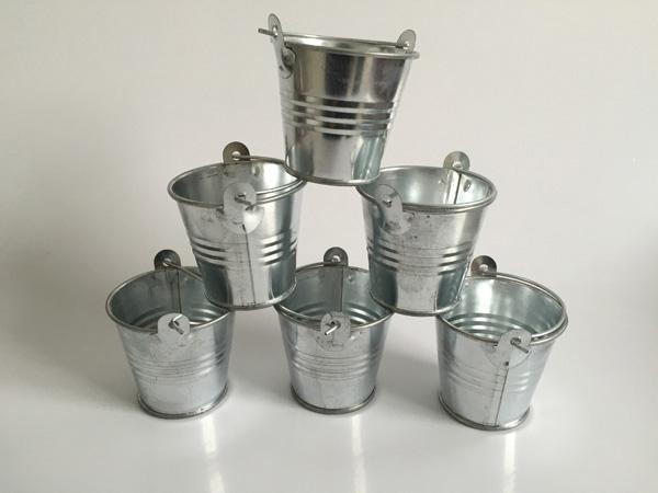 top popular Metal Pails Mini Garden Silver Cute Succulents planter Tin Planter Mini Galvanized Buckets for small plant 2021