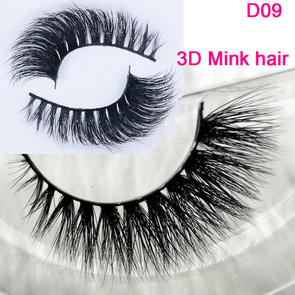 3D mink eyelashes wholesale 100% real mink hair Handmade crossing lashes D09 individual strip thick lashes