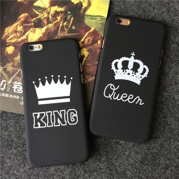Marca de moda rei queen ultra fino phone case case para iphone x 8 7 plus 6 Casos de Telefone Coroa De Luxo Fino Shell Coque